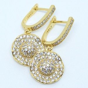 18K Gold Plated Sparkly Diamond Drop Earrings